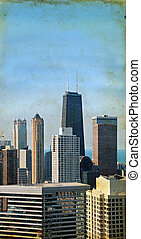 grunge, drapacze chmur, tło, chicago