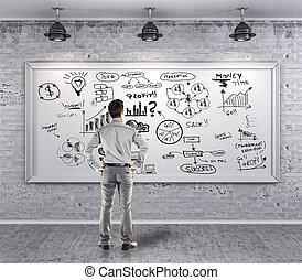 grunge, handlowy, ściana, plan, garnitur, biznesmen