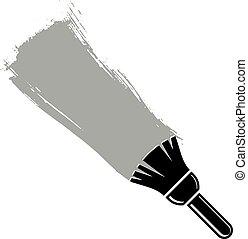 grunge, illustration., stworzony, ściana, brushstrokes, wektor, próbki, monochromia, konceptualny, paintbrush., akrobatyczne malarstwo