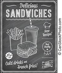 grunge, jadło, menu, mocny, 3, chalkboard, szablon