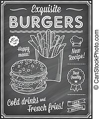 grunge, jadło, menu, mocny, chalkboard, szablon