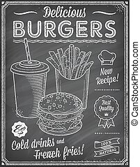 grunge, jadło, menu, mocny, chalkboard, te