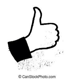 grunge, kciuk do góry, wektor, eps8, icon.