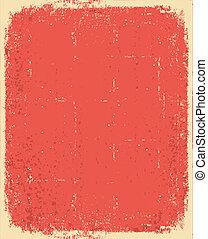 grunge, struktura, tekst, stary, wektor, paper., czerwony