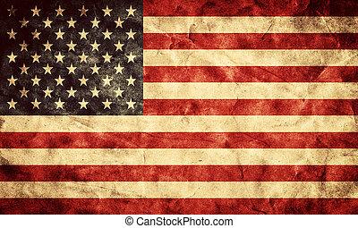 grunge, usa, flag., rocznik wina, pozycja, bandery, retro, zbiór, mój