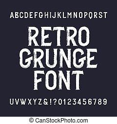 grunge, zakłopotany, alfabet, numbers., retro, font., beletrystyka