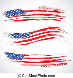 grungy, amerykanka, chorągiew, bandera