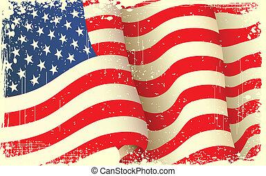 grungy, falować, amerykańska bandera