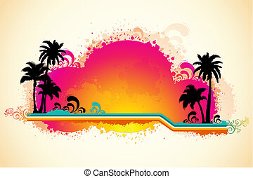 grungy, plaża, prospekt morza
