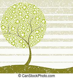 grungy, pojęcie, drzewo, recycling