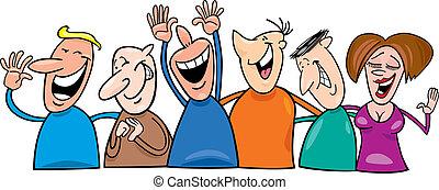 grupa, śmiech, ludzie