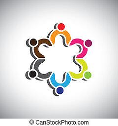 grupa, barwny, ludzie, albo, symbolika, projektować, dzieci