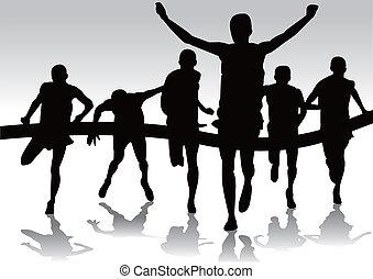 grupa, biegacze, maraton