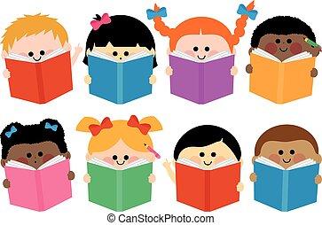 grupa, books., ilustracja, wektor, czytanie, dzieci