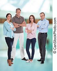 grupa, businesspeople, szczęśliwy