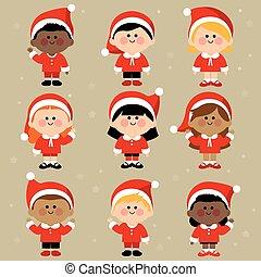 grupa, costumes., ubrany, claus, ilustracja, dzieci, wektor, święty, rozmaity, boże narodzenie