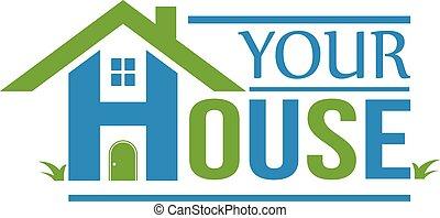 grupa, dom, logo., domy