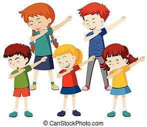 grupa, dzieci, dotknięcie