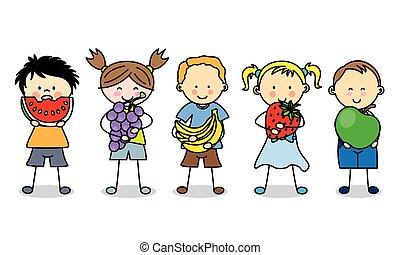 grupa, dzieci, owoce