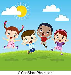 grupa, dzieci, szczęście