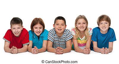 grupa, dzieci, szczęśliwy