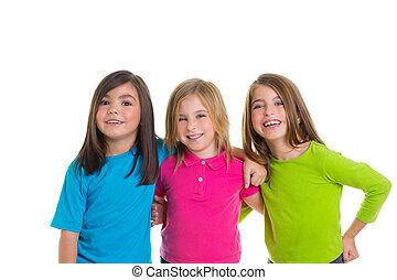 grupa, dziewczyny, razem, uśmiechanie się, dzieci, szczęśliwy