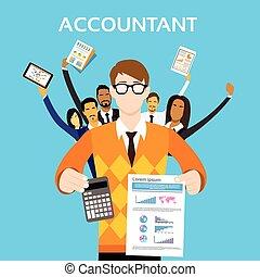 grupa, finanse, ludzie, kalkulator, pokaz, bilansista, drużyna