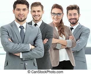 grupa, handlowe biuro, ludzie