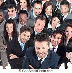 grupa, handlowy, ludzie., odizolowany, tło, biały, na