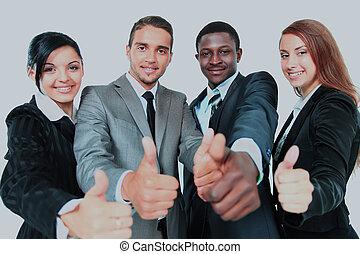 grupa, handlowy, na, odizolowany, do góry, tło., kciuki, biały