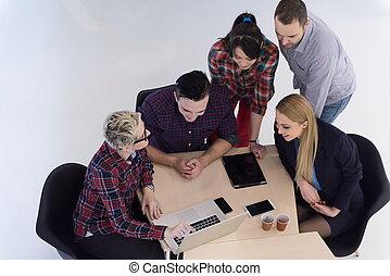 grupa, handlowy zaludniają, antena, spotkanie, prospekt