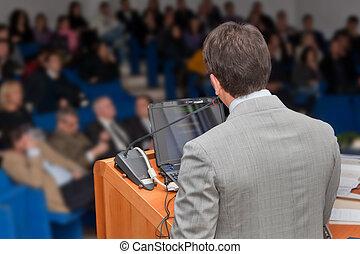 grupa, handlowy zaludniają, spotkanie, prezentacja, seminarium