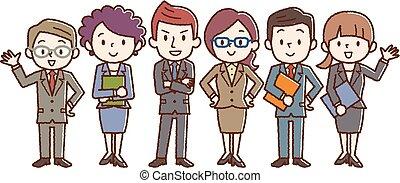 grupa, handlowy zaludniają, ubrany, team., ścisły, suit.