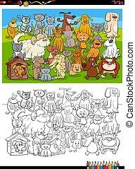 grupa, kolorowanie, psy, książka, rysunek, zabawny, strona, koty