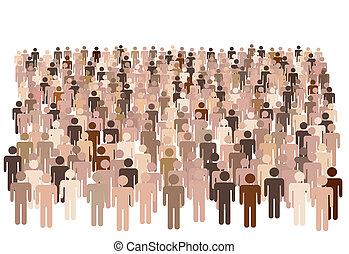 grupa, kształt, ludzie, symbol, wielki, rozmaity, ludność