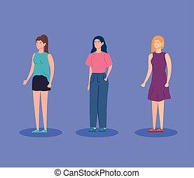 grupa, litera, ikona, avatar, kobiety