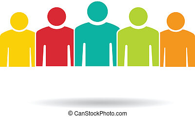 grupa, ludzie, 5., drużyna, logo, maty
