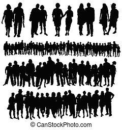grupa, ludzie, cielna, para, wektor, sylwetka