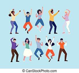grupa, ludzie, do góry, młody, świętując, siła robocza