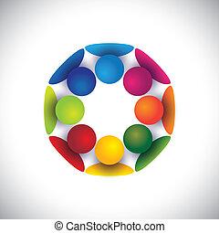 grupa, ludzie, dzieci, współposiadanie, albo, wektor, koło, interpretacja