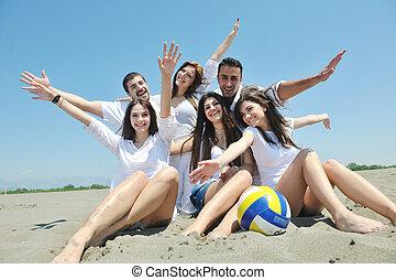 grupa, ludzie, młody, danie zabawa, plaża, szczęśliwy