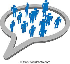 grupa, ludzie, media, mowa, towarzyski, bańka, rozmowa