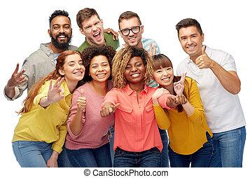 grupa, ludzie, pokaz, do góry, kciuki, międzynarodowy