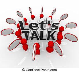grupa, ludzie, pozw, mowa, chmury, koło, dyskutować, rozmowa