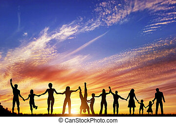 grupa, ludzie, rodzina, razem, ręka, rozmaity, przyjaciele, drużyna, szczęśliwy