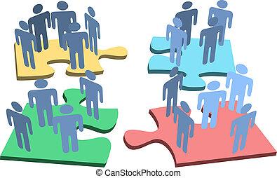 grupa, ludzie, zagadka, rozłączenie, kawałki, ludzki, organizacja