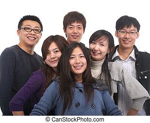 grupa, młody, asian