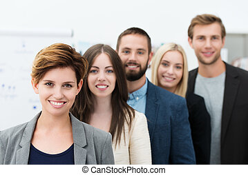 grupa, młody, handlowy zaludniają