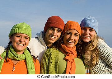 grupa, nastolatki, prąd, młodość, mieszany, wiek dojrzewania, dzieciaki, albo, szczęśliwy