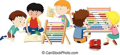 grupa, nauka, dzieci